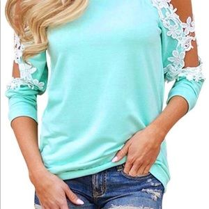 Tops - off shoulder cut out lace long sleeve